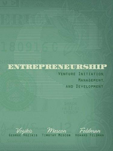 9781933483092: Entrepreneurship: Venture Initiation, Management, and Development