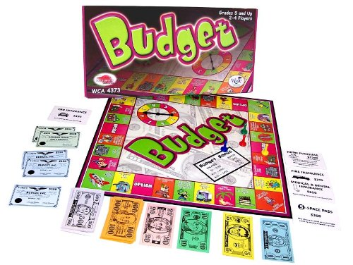 Budget (Toy) 9781933745343 Before each trip around the game board, players plan a budget and receive $2,000. The realities of real-life economics are experienced a