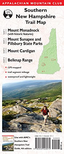 9781934028971: AMC Southern New Hampshire Trail Maps 1-4: Mount Monadnock (with historic features), Sunapee and Pillsbury State Parks, Mount Cardigan, and Belknap Range (Appalachian Mountain Club)