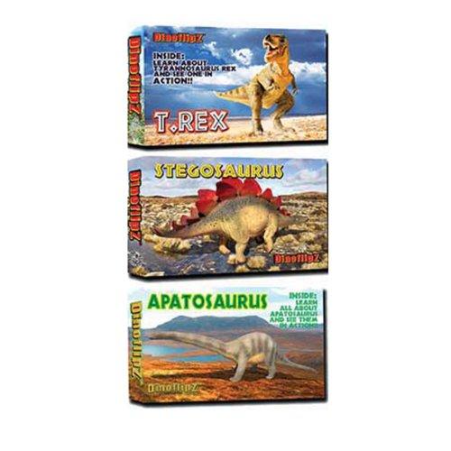 9781934095829: Flipworkz flipbooks - Dinosaur set of 4: Apatosaurus, T. Rex, 2 x Stegosaurus