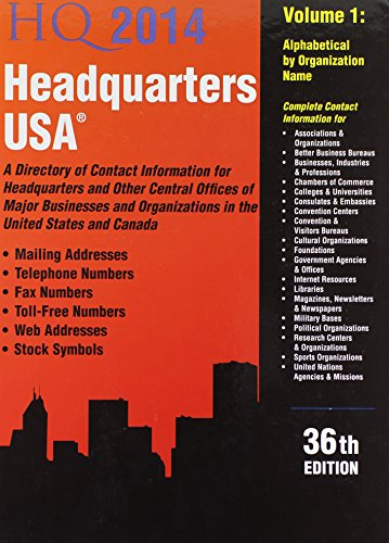 9781934228869: Headquarters USA 2014: A Directory of Contact Information for Headquarters and Other Central Offices of Major Businesses & Organizations in the United States and in Canada