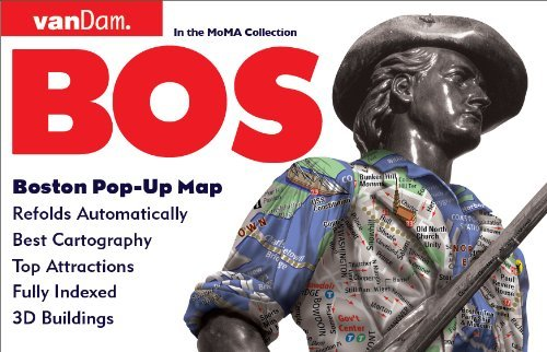 9781934395264: Pop-Up Boston Map by VanDam - City Street Map of Boston - Laminated folding pocket size city travel and subway map (Pop-Up Map)