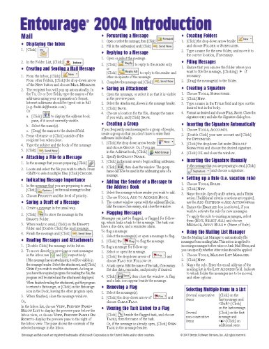 Microsoft Entourage 2004 Quick Reference Guide (Cheat: Beezix Inc