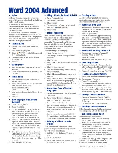 Mac Word 2004 Advanced Quick Reference Guide: Beezix Inc