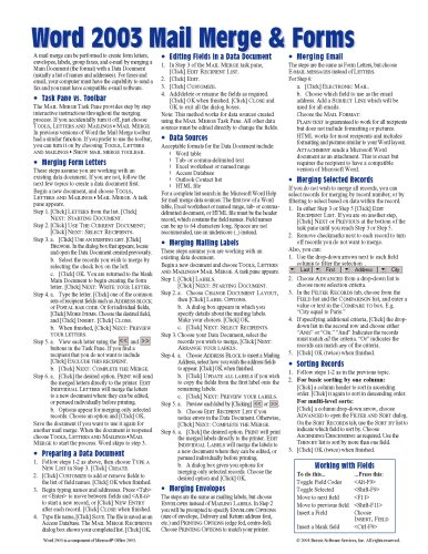 9781934433331: Microsoft Word 2003 Mail Merge & Forms Quick Reference Guide (Cheat Sheet of Instructions, Tips & Shortcuts - Laminated Card)