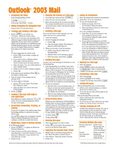 9781934433416: Microsoft Outlook 2003 Mail Quick Reference Guide (Cheat Sheet of Instructions, Tips & Shortcuts - Laminated Card)