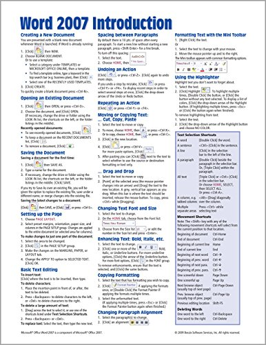 Microsoft Word 2007 Introduction Quick Reference Guide (Cheat Sheet of Instructions, Tips & ...