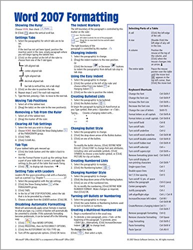9781934433560: Microsoft Word 2007 Formatting Quick Reference Guide (Cheat Sheet of Instructions, Tips & Shortcuts - Laminated Card)