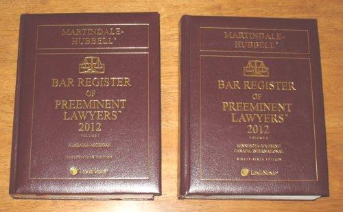 Martindale-Hubbell Bar Register of Preeminent Lawyers 2012 (Hardback)
