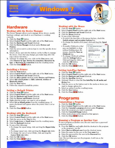9781935518020: Windows 7 Advanced Quick Source Reference Guide