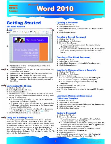 9781935518068: Word 2010 Quick Source Reference Guide
