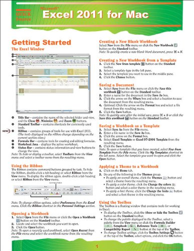 9781935518211: Excel 2011 for Mac Quick Source Reference Guide