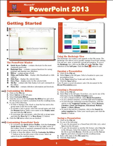 PowerPoint 2013 Quick Source Guide: Quick Source