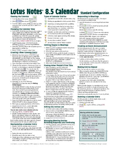 9781936220045: Lotus Notes 8.5 Calendar Quick Reference Guide (Cheat Sheet of Instructions, Tips & Shortcuts - Laminated Card)