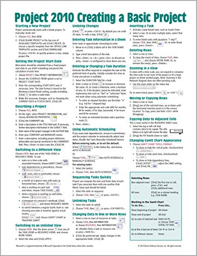9781936220274: Microsoft Project 2010 Quick Reference Guide: Creating a Basic Project (Cheat Sheet of Instructions, Tips & Shortcuts - Laminated Card)