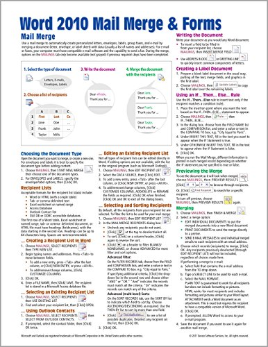 9781936220359: Microsoft Word 2010 Mail Merge & Forms Quick Reference Guide (Cheat Sheet of Instructions, Tips & Shortcuts - Laminated Card)