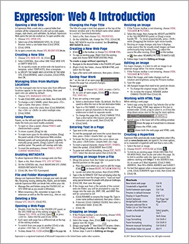 Expression Web 4 Quick Reference Guide (Cheat Sheet of Instructions, Tips & Shortcuts - ...