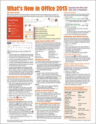 What's New in Microsoft Office 2013 (from 2007) Quick Reference Guide (Cheat Sheet of New ...