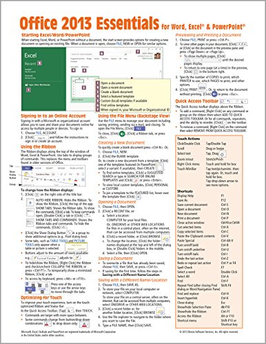 Microsoft Office 2013 Essentials Quick Reference Guide: Beezix Inc.