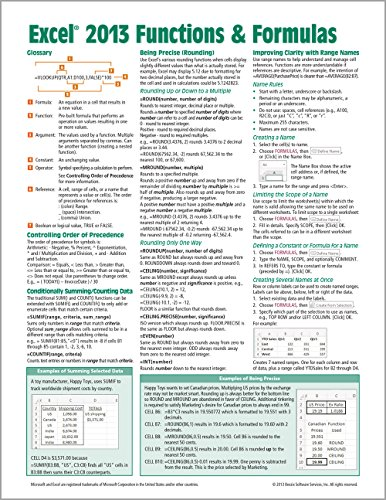 9781936220779: Microsoft Excel 2013 Functions & Formulas Quick Reference Card (4-page Cheat Sheet focusing on examples and context for intermediate-to-advanced functions and formulas- Laminated Guide)