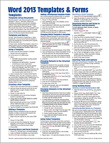 9781936220847: Microsoft Word 2013 Templates & Forms Quick Reference Guide (Cheat Sheet of Instructions, Tips & Shortcuts - Laminated Card)