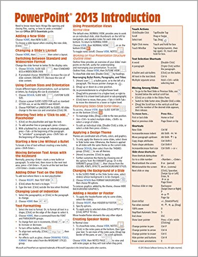 9781936220878: Microsoft PowerPoint 2013 Introduction Quick Reference Guide (Cheat Sheet of Instructions, Tips & Shortcuts - Laminated Card)