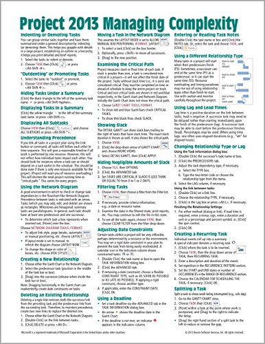 9781936220939: Microsoft Project 2013 Quick Reference Guide: Managing Complexity (Cheat Sheet of Instructions, Tips & Shortcuts - Laminated Card)