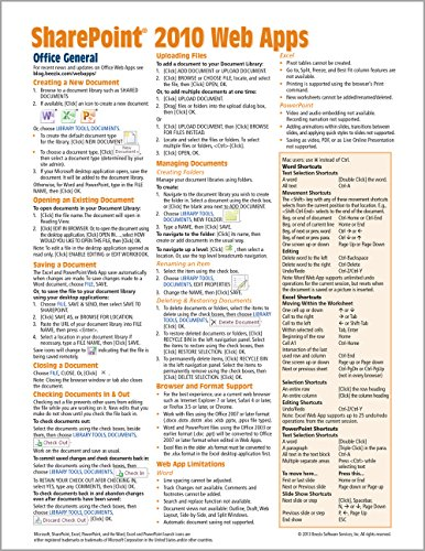 9781936220960: Microsoft SharePoint 2010 Web Apps Quick Reference Guide (Cheat Sheet of Instructions, Tips & Shortcuts - Laminated Card)