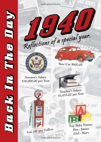 9781939380005: 1940 Back In The Day Almanac -- 24-page Booklet / Greeting Card