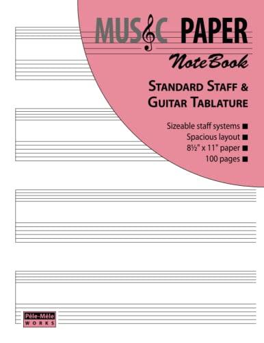 9781939619013: MUSIC PAPER NoteBook - Standard Staff & Guitar Tablature