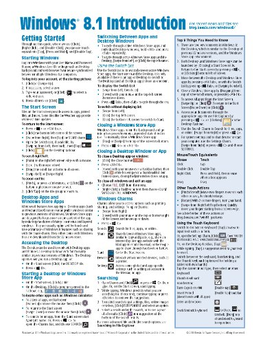 9781939791078: Windows 8.1 Quick Reference Guide: Introduction (Cheat Sheet of Instructions, Tips & Shortcuts - Laminated)