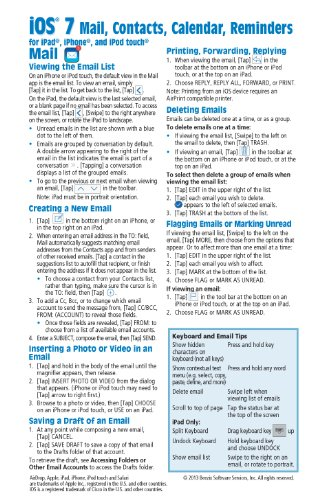 9781939791092: iOS 7 Mail, Contacts, Calendar, Reminders Quick Reference Guide: for iPad, iPhone, and iPod touch (Cheat Sheet of Instructions, Tips & Shortcuts - Laminated Guide)