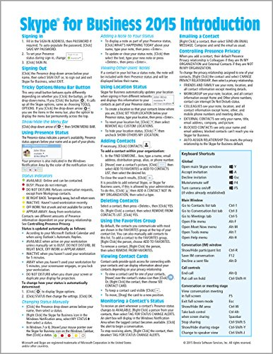 9781939791504: Skype for Business 2015 Introduction Quick Reference Guide (Cheat Sheet of Instructions, Tips & Shortcuts - Laminated Card)