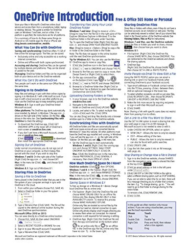 9781939791511: Microsoft OneDrive Introduction Quick Reference Guide (Cheat Sheet of Instructions, Tips & Shortcuts - Laminated Card)