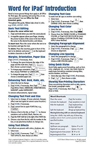9781939791559: Microsoft Word for iPad Quick Reference Guide: Introduction (Cheat Sheet of Instructions, Tips & Shortcuts - Laminated Card)