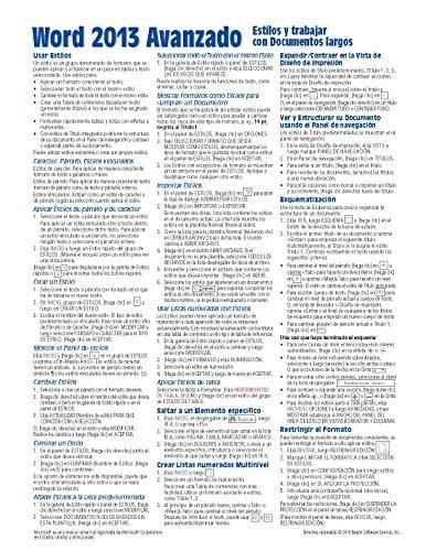9781939791726: Microsoft Word 2013 Avanzado Guía de referencia rápida: Estilos y Documentos largos (Hoja de referencia con instrucciones, consejos y accesos directos - Guía plastificada) (Spanish Edition)