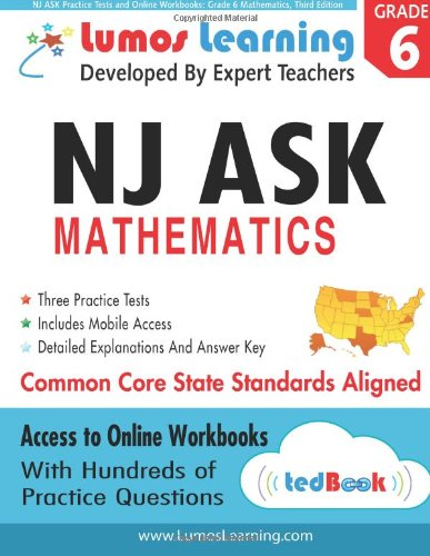 9781940484099: NJ ASK Practice Tests and Online Workbooks: Grade 6 Mathematics, Third Edition: Common Core State Standards, NJASK 2014