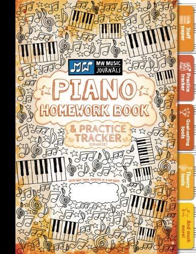 Piano Homework Book and Practice Tracker (Orange): Meridee Winters