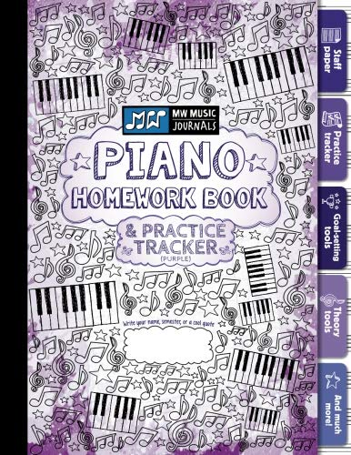 Piano Homework Book and Practice Tracker (Purple): Meridee Winters