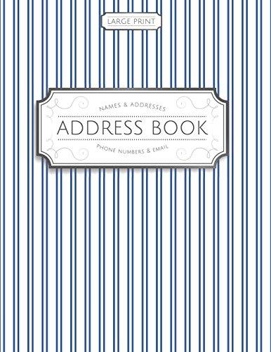 9781944633264: Large Print Address Book: Blue Pinstripes