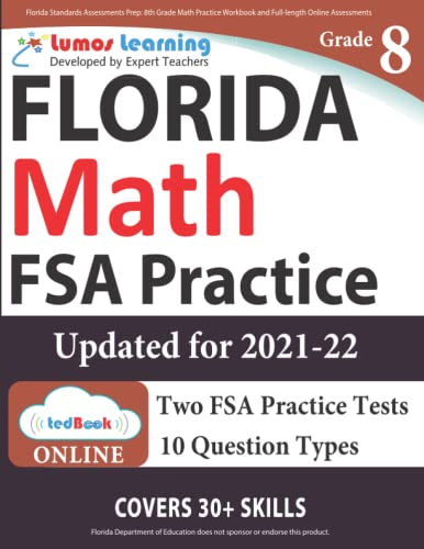 9781945730535: Florida Standards Assessments Prep: 8th Grade Math Practice Workbook and Full-length Online Assessments: FSA Study Guide