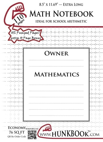Math Notebook (WMNBX-110 pages): ExtraLegal Size: Hunkbook, Mighty