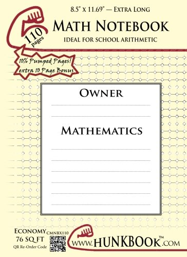 Math Notebook (CMNBX-110 pages): ExtraLegal Size: Hunkbook, Mighty