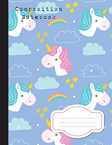 """9781974538072: Composition Notebook: College Wide Ruled Writer's Notebook Baby Blue Unicorn School Notebook, 110 Pages, 8.5"""" x 11"""" (Composition Kinds) (Volume 3)"""