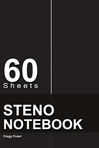 """9781978251762: Steno Notebook: 6"""" x 9"""", 60 Sheets, Writing Pad for Notes,Gregg Ruled, (Black)-[Professional Binding]"""