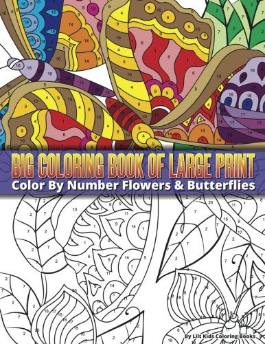 Color By Number Large Print Butterflies & Flowers Big Coloring Book (Premium Adult Coloring ...