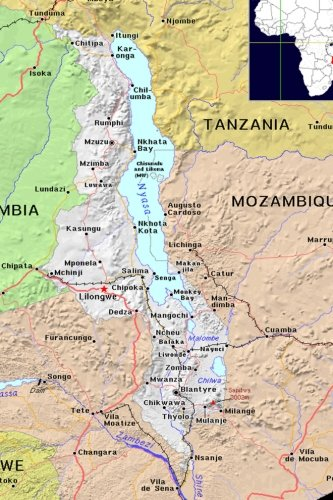 Modern Day Color Map of Malawi in: Journal, Map Lovers