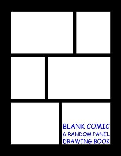Blank Comic Drawing Book - 6 Random Panels: Black - 6 Random Panels per Page - 600 Panels - Great ...