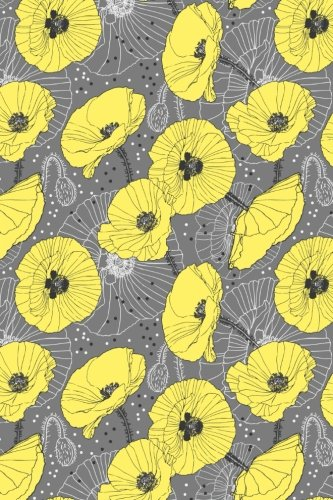 Bullet Journal Notebook Yellow Poppies On Gray: Girl, Paper
