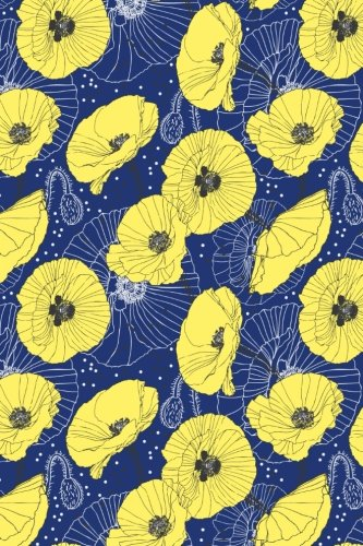 Bullet Journal Notebook Yellow Poppies On Navy: Girl, Paper